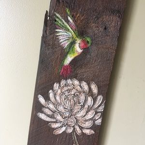 Other - Hand Painted Hummingbird & Flower Old Barn Wood